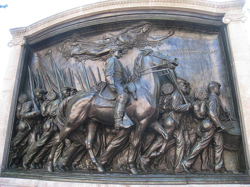 The memorial to Robert Gould Shaw and the MA 54th