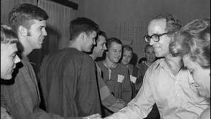 Rev. William Sloane Coffin, greeting POW Americans in North Vietnam.